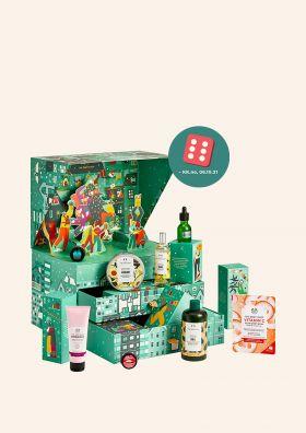 Grønn julekalender fra The Body Shop som også viser produktinnhold. foto